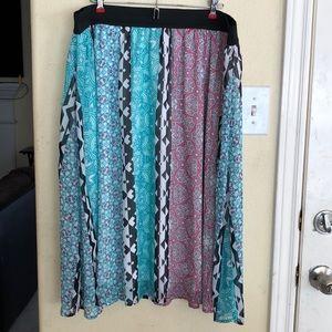 EUC Lane Bryant Multicolored Lined Gypsy Skirt 22